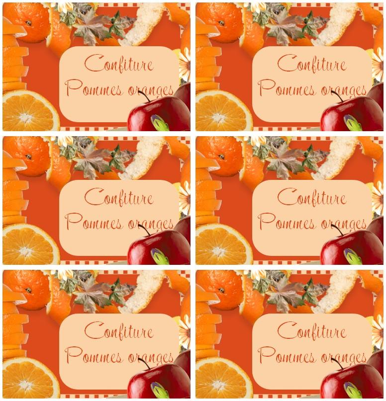 etiquettes confiture pommes oranges