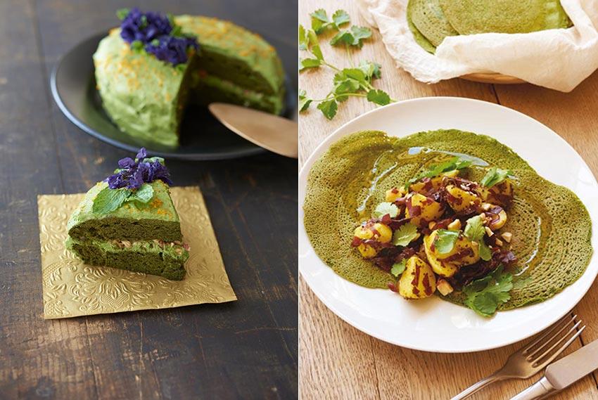 Gâteau moelleux aux épinards et sa petite crème verte au beurre de cacao | Dosa verts garnis de pommes de terre nouvelles et d'algues dulse