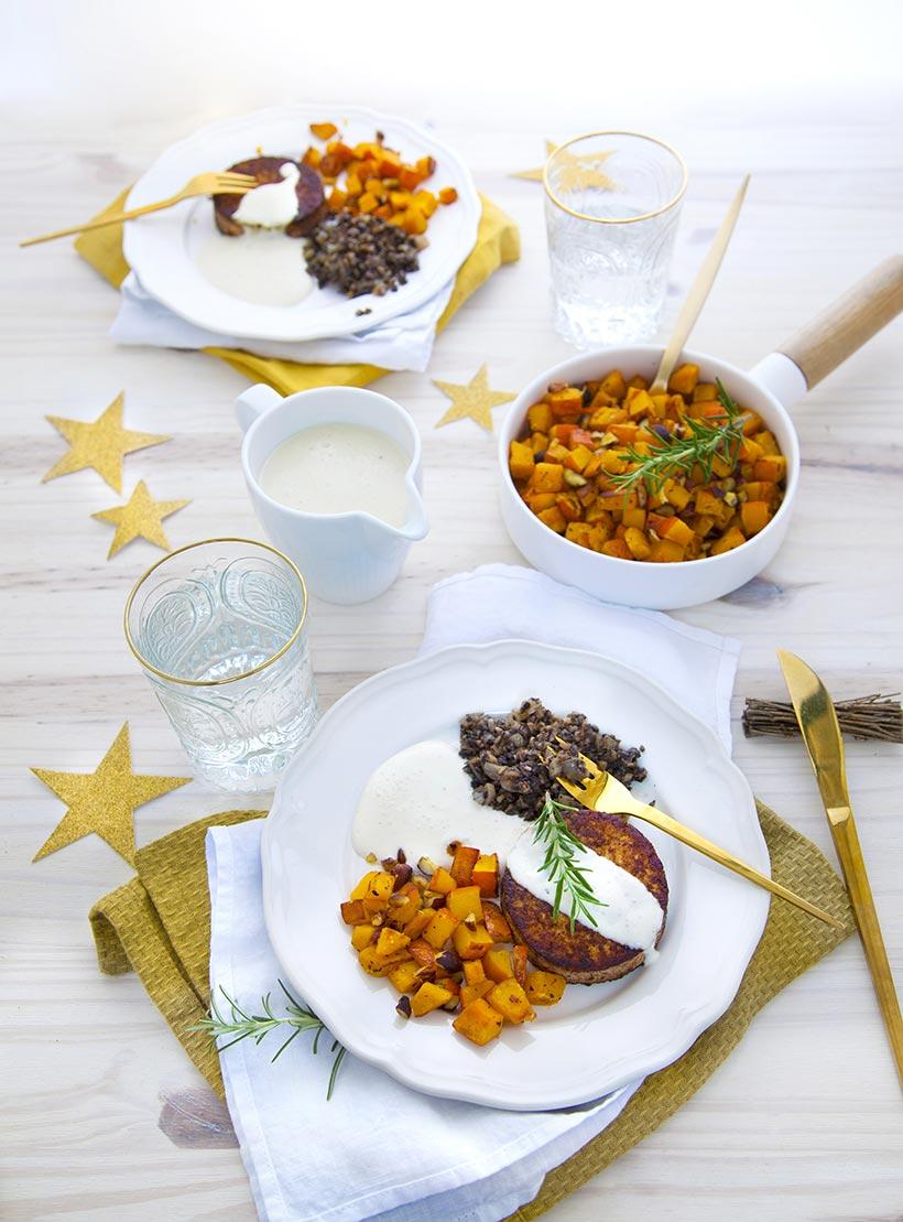 Médaillons de tofu parfumé,duxelles et potimarron