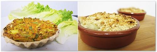 Petites quiches aux légumes et Crumble poire-coco vegetalienne