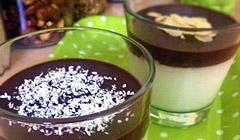 Panna-cotta amande-chocolat ou coco-chocolat