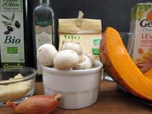 Crumble au potiron et champignons halloween vegan vegetalien
