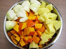 entrée soupe au potiron et lait de coco vegan vegetalien