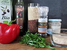 Verrine de quinoa rouge et blanc vegan vegetalien