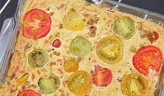 Flan de tofu aux tomates, olives et basilic d'Anya Kassof