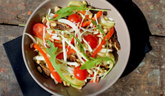 Salade pommes de terre figues tomates & sauce orange