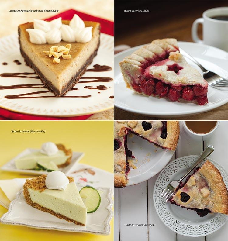 Brownie cheesecake au beurre de cacahuète Tarte aux cerises chérie Tarte à la limette (Key Lime Pie) Tarte aux mûres sauvages