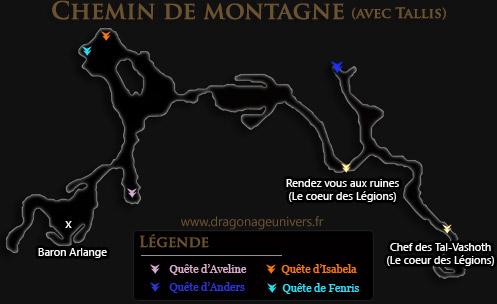 carte Chemin de montagne dragon age 2 dlc avec Talis