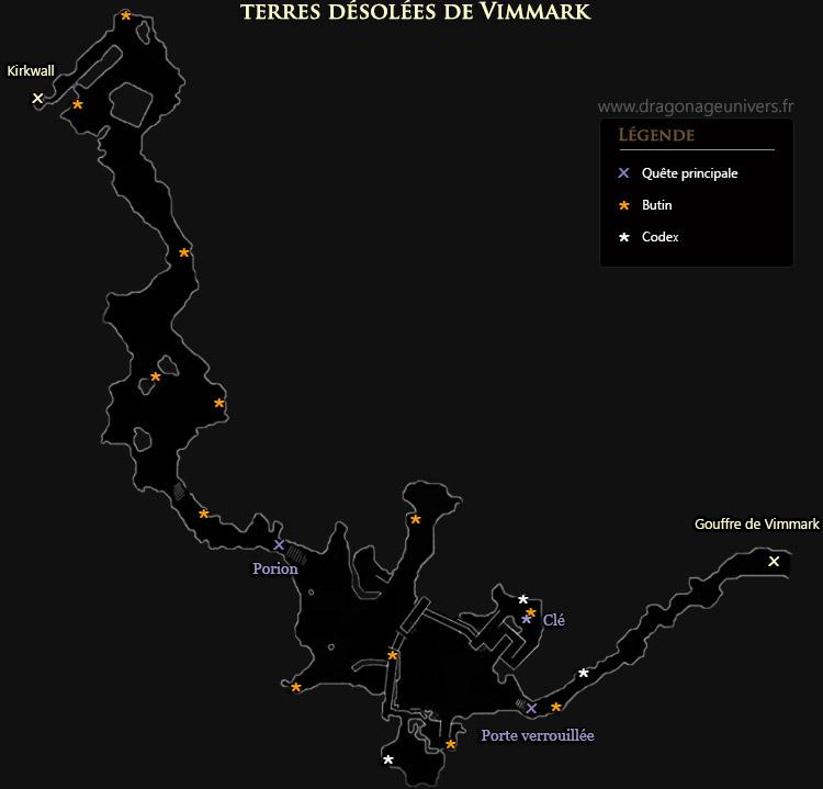 carte Les terres désolées de Vimmark