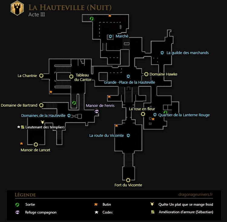 carte dragon age 2 Hauteville nuit acte 2