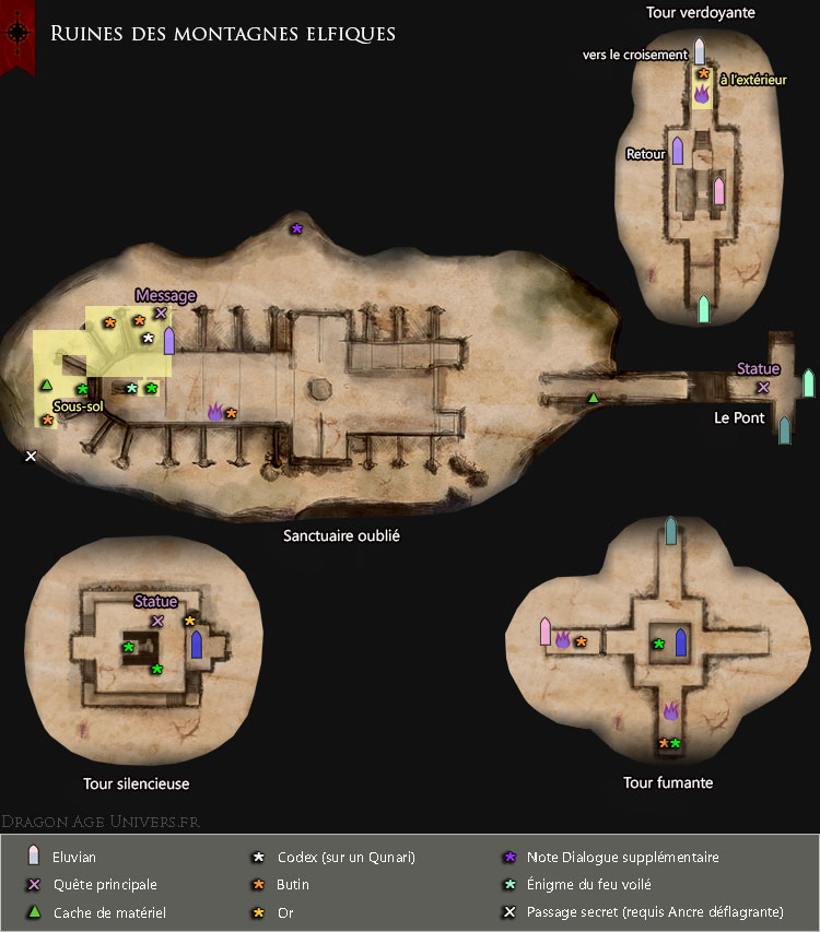 carte des ruines des montagnes elfiques