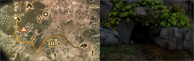 Carte d'une grotte en zone agricole