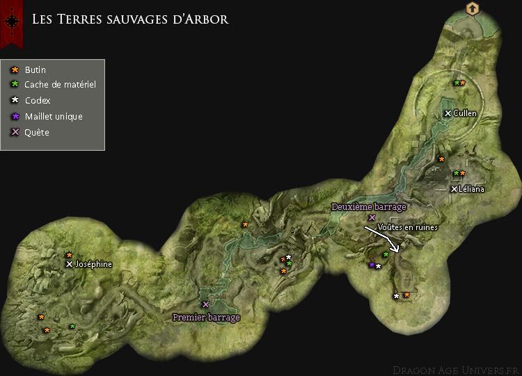 Carte des Terres sauvages d'Arbor