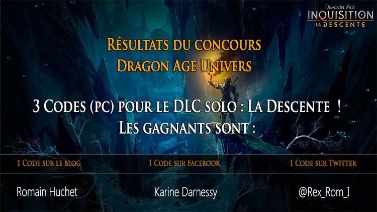 résultats du concours 3 Codes pour le DLC La Descente