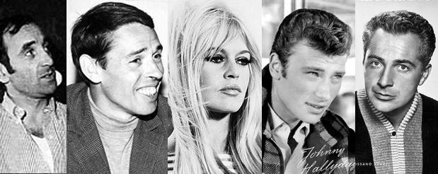 Charles Aznavour - Jacques Brel - Brigitte Bardot - Johnny Hallyday - Rossano Brazzi