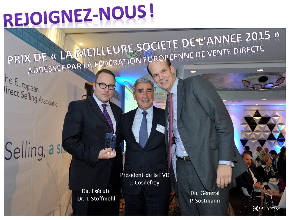 Prix de la meilleur société 2015 décernée par la Fédération Europeenne de la Vente Directe